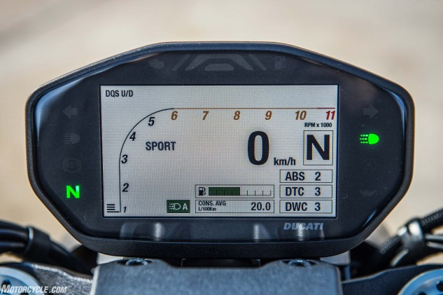 The TFT instrumentation is crisp and remained clear during our sunlit ride. Seen here is the display in Sport mode. The Touring and Urban modes have their own arrangements of info. Navigating the menus via pleasing switchgear is only frustrating the first time through them.