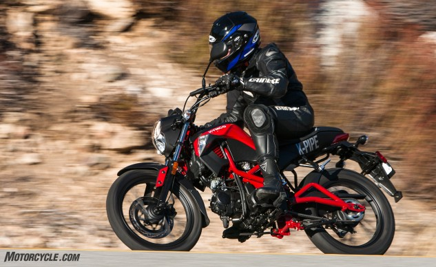 Bringing up the rear in our uphill battle is the Kymco K-Pipe 125. It's a roomy little motorcycle, with a cool tubular frame and swingarm. It's just not as focused on performance as the others in this test.