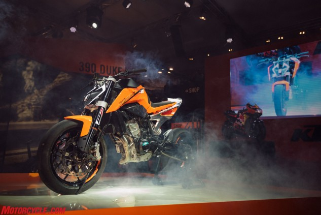 The 790 Duke prototype takes center stage with KTM's RC16 MotoGP contender watching on in the background.