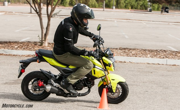 As part of the Grom's design refresh, it now looks more like an anime character. Here, guest tester Arman Bedrosyan maneuvers it around our weave course.