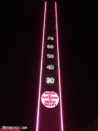 The world's tallest thermometer beckons with food and fuel for the ride home.
