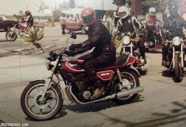 Longtime Yamaha employee Mark Porter, then just 23 years old, is astride the 2D version of the XS750 during California testing back in the day. Halfway through the 1977 model year emerged the 2D version of the XS750, red with black wheels and a 3-into-2 exhaust. Note the muffler on the left side that was absent on the previous year's XS750D. Nearly four decades later, Porter still works for Yamaha's U.S. arm as head of testing.