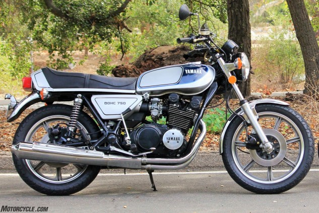 The XS750D in all its mid-1970s air-cooled and shaft-driven beauty. Triple-disc brakes were fairly rare in this era.