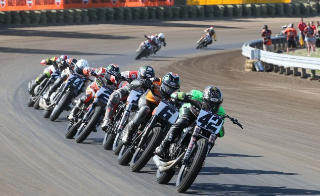 The flat track freight train enters a straight at the Springfield Mile.