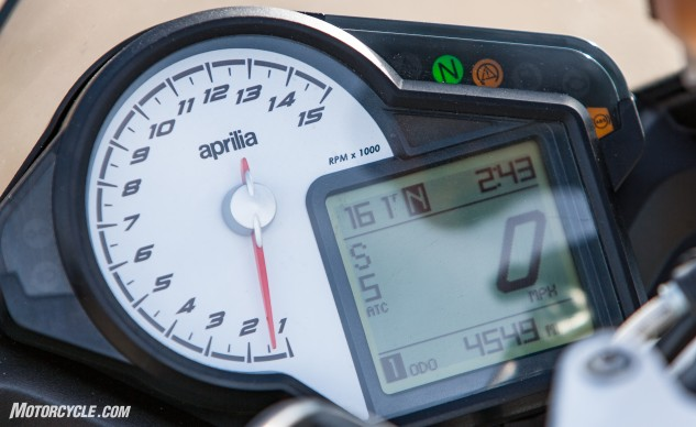 For all the readers bitching about the new TFT display on the 2017 KTM Super Duke R, both the 2016 version of it and the Tuono have nice, big analog tachs. Get 'em while they last because the Tuono is getting a TFT display in 2017 as well.