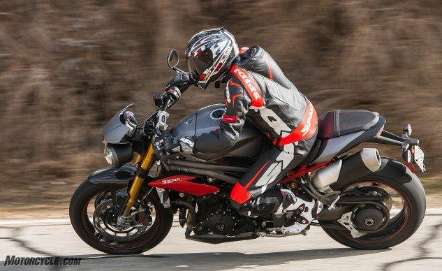 Most expensive and heaviest of the group by a margin of at least nine pounds, coupled with the least amount of horsepower and torque, rocketed the Speed Triple R to last place in the Objective section of our scorecard.