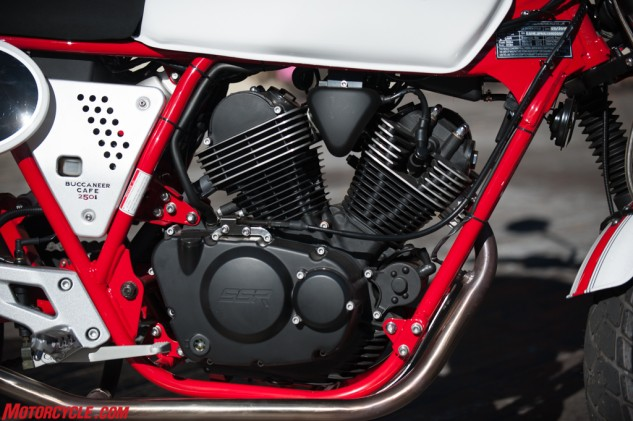 The 250cc air-cooled, SOHC, two-valve, V-Twin is a simple thing, putting out a nice rumble belying its modest displacement.