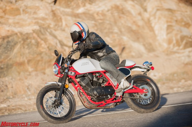 With a 29.5º rake angle, the Buccaneer Cafe tends to flop into corners. A sportbike the Buccaneer Cafe is not.