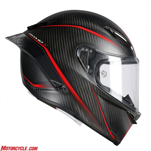 The AGV Pista GP R is most easily recognizable by its carbon fiber shell and elongated rear spoiler. AGV claims the Pista GP R you can buy off the shelf is the exact same helmet all of its sponsored racers, including Valentino Rossi, wear.