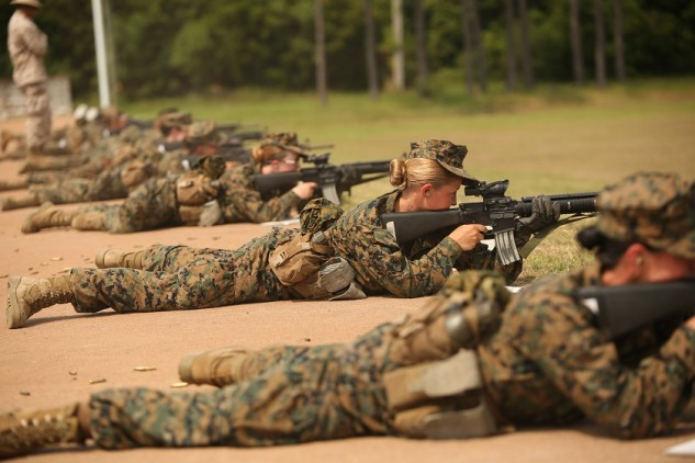 There was a lot of fuss about allowing women into combat roles, but a target (or enemy soldier) doesn't care if the hole punched into it was from a man or woman firing the rifle. U.S. Marine Corps photo by Cpl. Octavia Davis.
