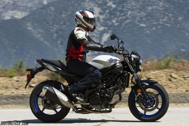 The GT-Air slices a smooth hole through the air even when you turn your head, which is especially convenient on bikes with minimal wind protection, like the Suzuki SV650.