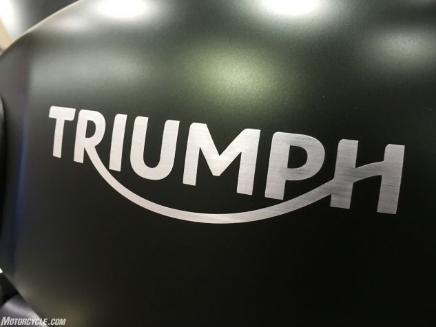 Swell detailing includes a brushed aluminum foil Triumph decal, which is almost as cool as an aluminum tank.