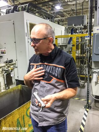 Manager of Engineering, Manufacturing David Fish, explains the intricacies of developing a process to machine the rocker arms to 0.003 in. tolerances.