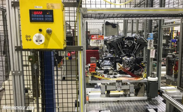 The completed engines are not run at the factory. Instead, they are subjected to external load tests to determine if they are functioning correctly.