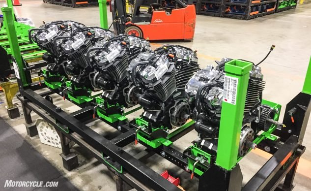 A pallet of completed engines awaiting shipment to the final assembly plant.