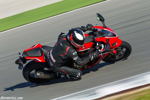 Even with the standard Bridgestone S21 tires, as fitted to the standard CBR seen here, the 'Blade is able to lap a racetrack very quickly. In fact, I'd estimate it's a perfectly suitable track tire for all but the fastest track riders out there.