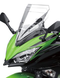 The 2017 Ninja 650 features a three-way adjustable windscreen. Other niceties include adjustable clutch and front brake levers, a narrow seat/tank junction, and comfortably dense seat material. Among other accessories, the seat cowl is especially stylish and dresses-up the look of the Ninja 650 for not much money.