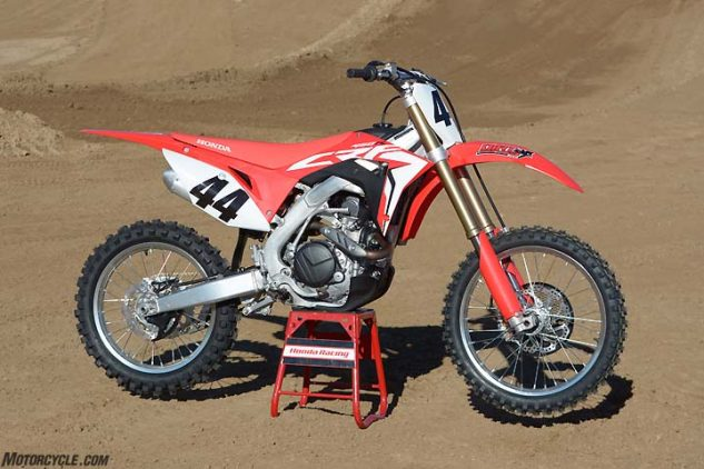 The Honda CRF450R is all-new for 2017. Honda engineers worked on producing more power and redesigning the chassis for better flex characteristics. The CRF also does away with its air fork in favor of a coil-spring fork.