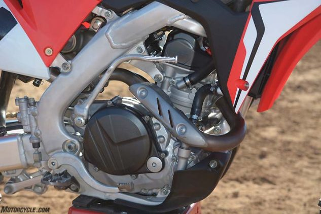 The CRF's Unicam Single attains its increased power via a new downdraft intake layout, a new cylinder head and increased compression along with a more aggressive camshaft. The Honda churned out 52.5 horsepower at 8900 rpm on the dyno.