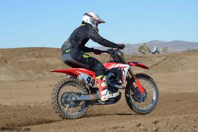 Some of our test crew felt that the CRF suspension was a little on the soft side, but it was well-balanced and very easy to dial-in for any terrain.