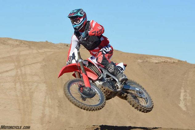 The Honda CRF450R feels small and light, making it easy to throw around in the air and comfortable during long motos.
