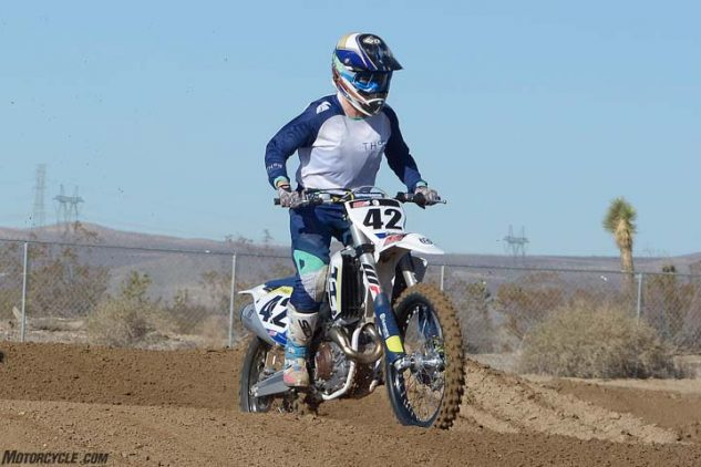 The Husqvarna FC 450's ride is smooth and progressive front and rear, although some riders found it to have a different overall feel than the same suspension units on the KTM.