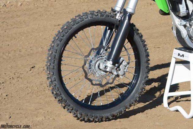 The 270mm rotor on the Kawasaki KX450F is tied with the Yamaha for the largest in the class. Even so, our testers were looking for more power out of the Kawasaki's front brake.