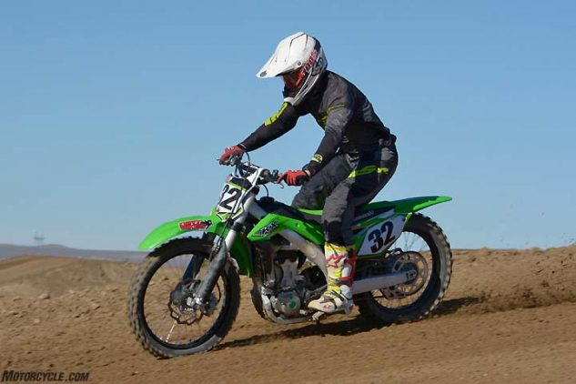 The KX450F's suspension drew mixed reviews during testing. The consensus is that the Showa SFF-TAC air fork is stiff over small bumps and is hard to bring into balance with the KX's plush Uni-Trak rear end.