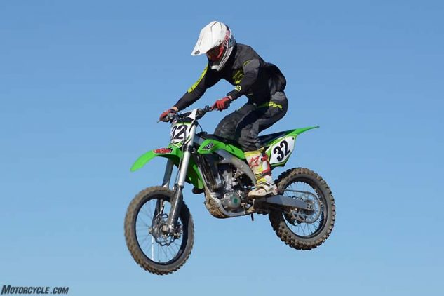 Testers noted a long front-to-rear feel when it came to the Kawasaki KX450F's ergonomics. On the plus side, the KX's footpeg height is adjustable to help accommodate longer or shorter legs.