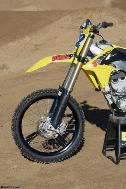 The Showa SFF air fork on the Suzuki RM-Z450 is the oldest design currently being used on a 450cc motocross machine.