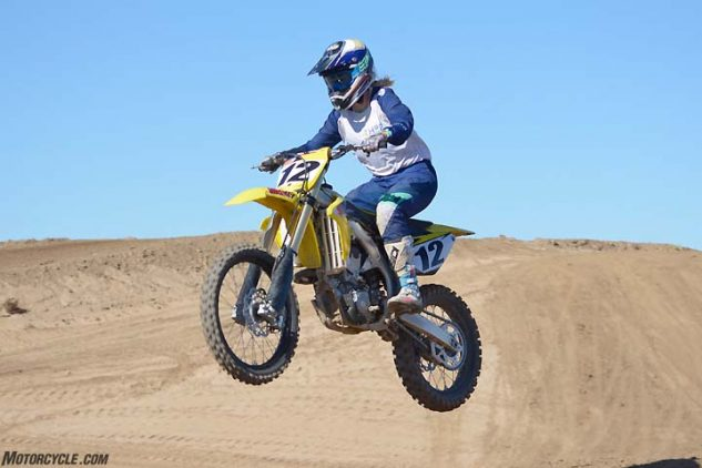If you're transitioning from a 250cc four-stroke motocross machine, the Suzuki RM-Z450 may feel the most at home to you. The RM-Z has the smallest-feeling cockpit in the class, but some testers felt it was also the tightest. Low bars and high-mounted footpegs are contributing factors.