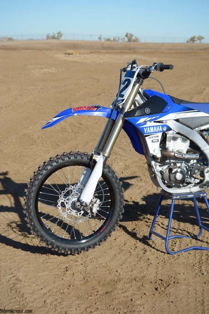 Prior to this year, the Yamaha YZ450F was the lone coil-spring fork holdout in the 450cc motocross class. The Yamaha's 48mm KYB Speed Sensitive System fork is still a top performer.