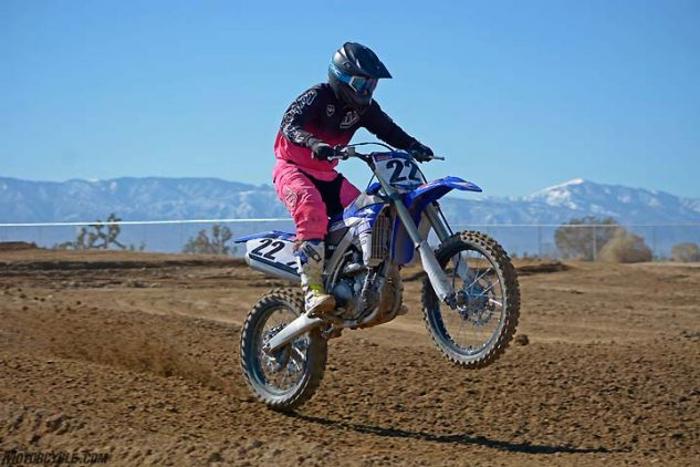 The YZ450F may be the most brutal machine in the class when it comes to aggressive power delivery. The arm-stretching blue bike is fun to ride but can be little taxing on novices and even pros during a long moto.