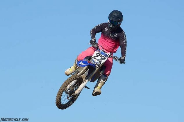 The Yamaha YZ450F is the largest-feeling bike. Its heaviest-in-class 249-lb. weight doesn't do it any favors.
