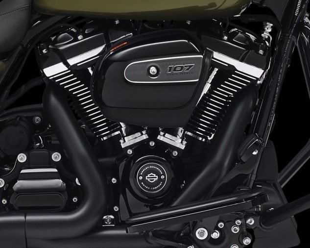 The Milwaukee-Eight 107 engine in all its blacked-out glory.