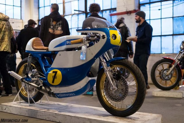 A 1975 Suzuki T500 converted into a GP replica racer from Justin Weber.