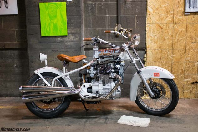 Perhaps the best conversation starter at the show was this bobber built around a Honda CX500 engine by Salt City Builds and website 1924.us.