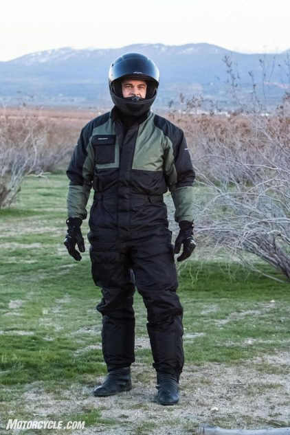 The Thermosuit has two exterior cargo pockets on each thigh, and one on the right side of the chest. Inside there's a single large chest pocket. The waist is adjustable via velcro straps, and there's heat protectors on the lower portion of each leg closest to the exhaust and hot engine parts. While not as easily ingressed/egressed as an Aerostich, I had no problems getting into and out of the Thermosuit within seconds even while wearing riding boots.