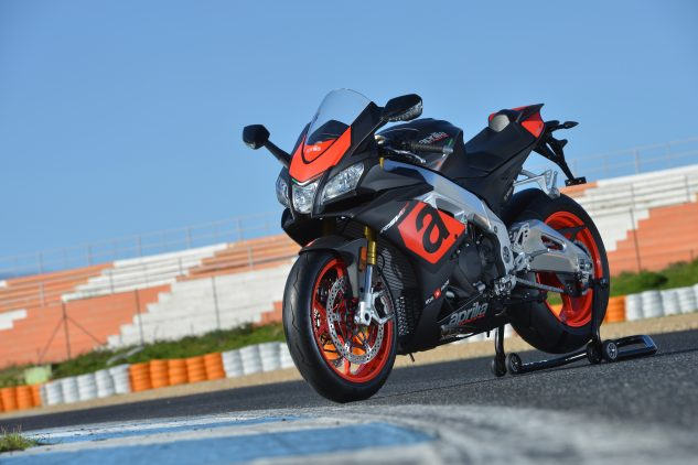 Aprilia's RSV4 gets several updates for 2017, including Bosch Cornering ABS, TFT color instrumentation, auto-blipping downshifter, and cruise control.