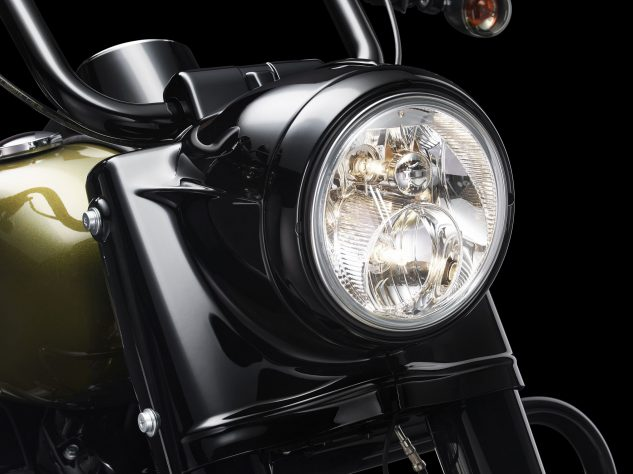 Housing a dual halogen headlight in a blacked-out vintage nacelle is an excellent blending of old with new.