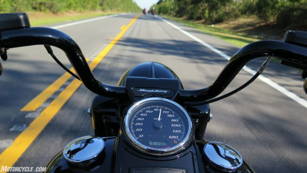 Sixty-five mph in top cog is just about 2400 rpm, about 500 rpm shy of the Milwaukee Eight's 102-pound-feet Dynojet-measured max torque; 100 smooth mph from here comes up quickish, no downshift required. (The '94 Road King would barely do 100.)