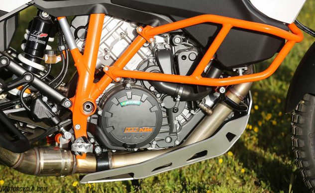 2017 KTM 1090 Adventure R engine, trellis frame, crash bars and skidplate.