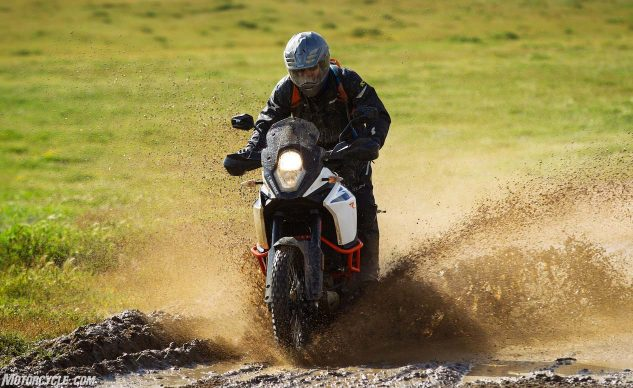2017 KTM 1090 Adventure R riding through mud