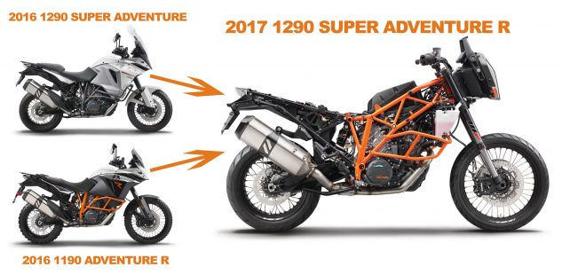 2017 KTM 1290 Super Adventure R chassis compared to 2016 models