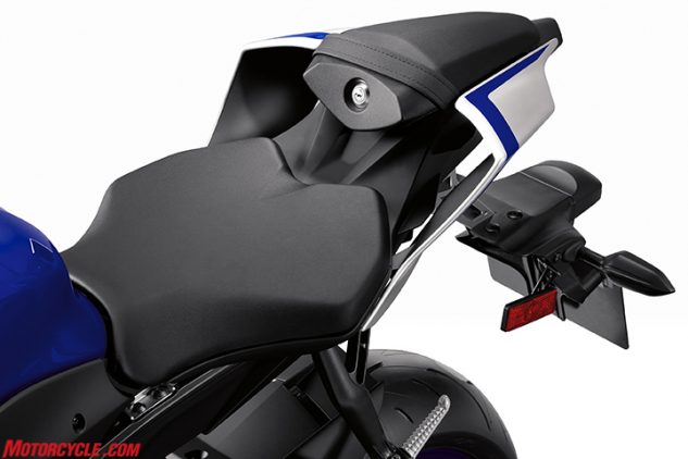 The hollow sections of the tail is the result of heavy influence from the R1. A 5mm rise where the seat meets the tank is supposed to add a little comfort, while the section just behind it is narrowed 8mm to help vertically challenged get a foot on the ground.
