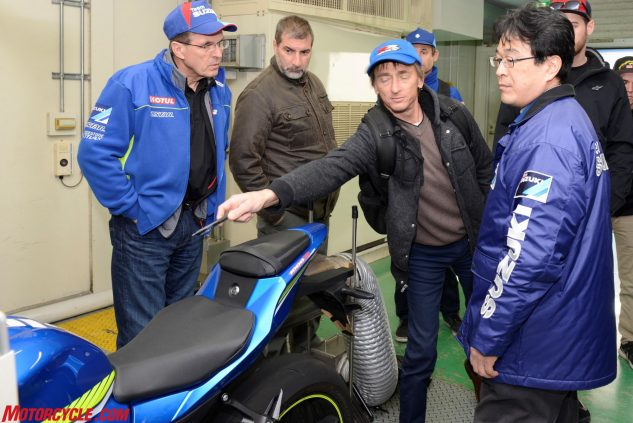 """Here I point at a sticker on the GSX-R1000's fuel tank displaying """"E10,"""" presumably for a 10% ethanol blend. When I asked if this meant this particular bike is bound for the U.S. market where ethanol-laced fuel is commonplace, I was surprised to learn that Europe is now also using ethanol blends in some of its fuel."""