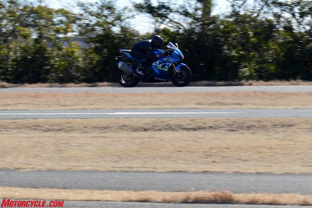 Nakashima-san puts his head down on the new GSX-R1000 as he rips down Ryuyo's mega 1.5-mile straightaway. Suzuki's MotoGP bikes can accelerate to 340 kph here, which quickly burns up tires, so they insert a chicane to prolong the liquification of rubber. Unfortunately, we didn't get a chance to spin some laps at Ryuyo.