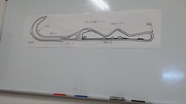 Another example of Suzuki doing more with less. A track map of the Ryuyo circuit stuck to a dry-erase board in the main building's conference room consisted of three papers taped together.