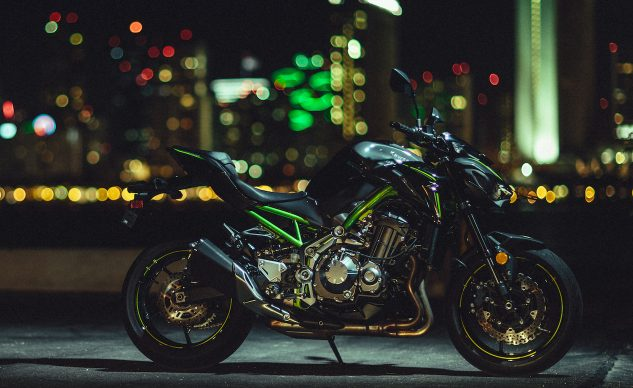 """Kawasaki refers to the Z900 as a naked with a """"condensed Sugomi-inspired appearance."""" What's for sure is the Z900's styling will prove to be far less polarizing than the Z1000. The green frame rails are a nice subtle detail on the Pearl Mystic Gray/Metallic Flat Spark Black model, or you can get it in Metallic Flat Spark Black without the green highlights."""