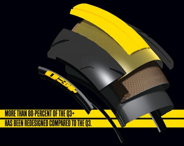 Dunlop says Carbon Fiber Technology (CFT) carbon fiber reinforcement in the sidewalls means exceptional cornering stability at high lean angles, responsive and precise steering, and predictable, smooth transitions.